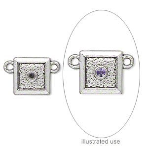 link, antiqued silver-plated pewter (zinc-based alloy), 11x11mm single-sided square with (1) pp16 setting. sold per pkg of 20.