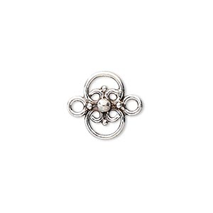 link, antiqued sterling silver, 14x6mm clover with ball. sold per pkg of 2.
