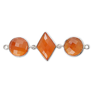link, carnelian (dyed / heated) and sterling silver, 40x16mm single-sided with 11mm faceted round and 16x11mm faceted diamond. sold individually.