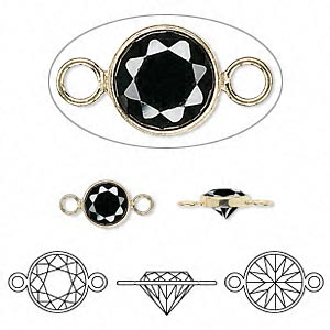 link, cubic zirconia and 14kt gold-filled, black, 6.5mm round. sold individually.