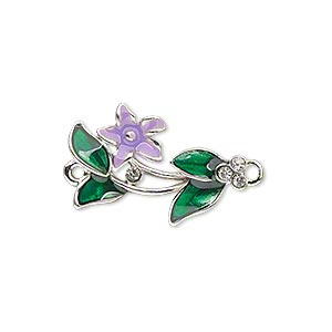 link, enamel / swarovski crystals / silver-plated pewter (zinc-based alloy), purple / green / crystal clear, 23x15mm single-sided flower and leaves. sold individually.