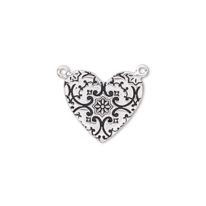 link, enamel and sterling silver, black, 17x15mm single-sided flat heart with stamped fancy design. sold individually.