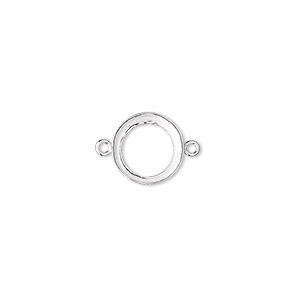 link, fine silver, 11mm open-back round with 10mm round bezel cup setting. sold per pkg of 2.