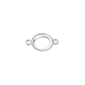 link, fine silver, 11x9mm open-back oval with 10x8mm oval bezel cup setting. sold per pkg of 2.