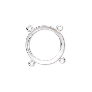 link, fine silver, 19mm round with open back and 18mm round setting, 4 loops. sold individually.