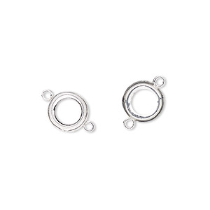 link, fine silver, 9mm round with open-back and 7.5mm round bezel setting. sold per pkg of 2.