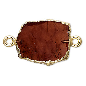 link, garnet (natural) / gold-finished sterling silver / gold-finished copper, 13x12mm-15x14mm freeform rectangle. sold per pkg of 2.