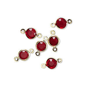 link, glass rhinestone and gold-finished brass, garnet red, 6-6.5mm faceted round. sold per pkg of 6.
