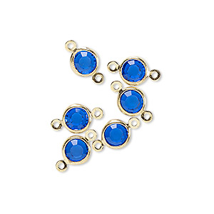 link, glass rhinestone and gold-finished brass, sapphire blue, 6-6.5mm faceted round. sold per pkg of 6.