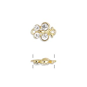 link, glass rhinestone and gold-finished pewter (zinc-based alloy), clear, 10x10mm butterfly. sold per pkg of 4.
