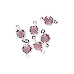 link, glass rhinestone and silver-finished brass, light amethyst, 6-6.5mm faceted round. sold per pkg of 6.