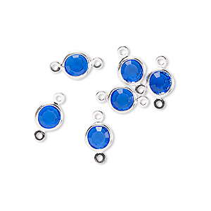 link, glass rhinestone and silver-finished brass, sapphire blue, 6-6.5mm faceted round. sold per pkg of 6.