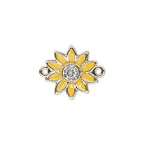 link, gold-finished pewter (zinc-based alloy) / swarovski crystal rhinestone / enamel, yellow and crystal clear, 16x15mm single-sided flower. sold individually.