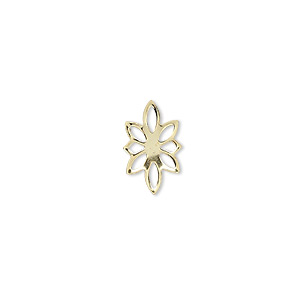 link, gold-plated brass, 14x9mm flower. sold per pkg of 100.