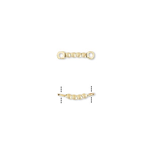 link, gold-plated brass, 22x4mm twisted curved bar. sold per pkg of 10.