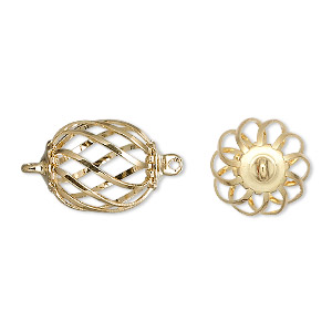link, gold-plated steel and brass, 15x12mm oval cage. sold per pkg of 100.