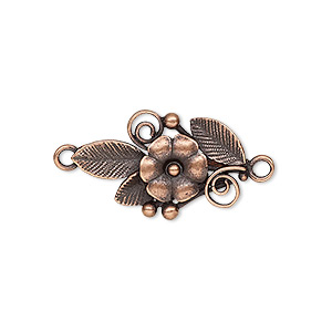 link, jbb findings, antique copper-plated brass, 23.5x14mm single-sided flower and leaves. sold individually.