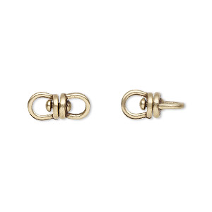 link, jbb findings, antiqued brass, 13.5x6mm with center swivel. sold per pkg of 2.