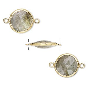 link, labradorite (natural) and gold-finished sterling silver, 12mm double-sided faceted round. sold per pkg of 2.