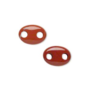 link, red jasper (natural), 14x10mm hand-cut oval, b grade, mohs hardness 6-1/2 to 7. sold per pkg of 2.