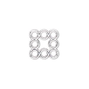 link, silver-finished pewter (zinc-based alloy), 15x15mm square with flat back and 8 loops. sold per pkg of 4.
