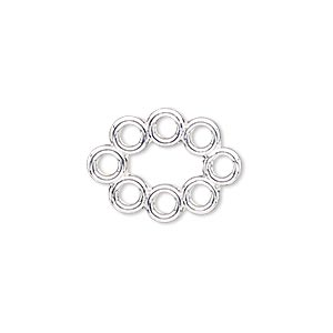 link, silver-finished pewter (zinc-based alloy), 20x15mm oval with flat back and 8 loops. sold per pkg of 4.