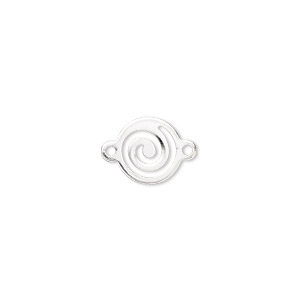 link, silver-plated brass, 10mm round with swirl. sold per pkg of 100.
