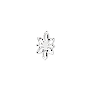 link, silver-plated brass, 14x9mm flower. sold per pkg of 100.