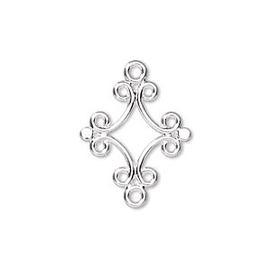 link, silver-plated brass, 18x17mm diamond. sold per pkg of 100.