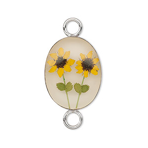 link, sterling silver / resin / sunflower, antique sepia and yellow, 22x16mm oval. sold individually.