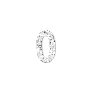 link, sterling silver, 15x9mm hammered open oval. sold per pkg of 4.