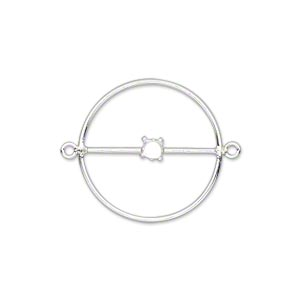 link, sterling silver, 20mm flat round with 4mm round setting. sold individually.