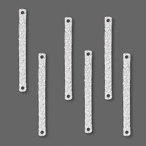 link, sterling silver, 25x2mm double-sided textured bar. sold per pkg of 6.