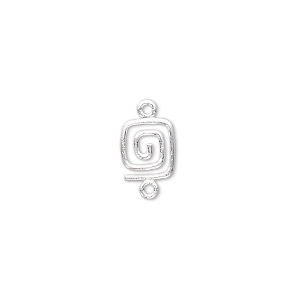 link, sterling silver, 9x7mm square swirl. sold per pkg of 2.