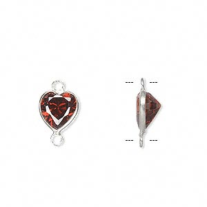 link, sterling silver and cubic zirconia, garnet red, 9x8.5mm faceted heart. sold per pkg of 2.