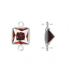 link, sterling silver and cubic zirconia, garnet red, 9x9mm faceted square. sold per pkg of 2.