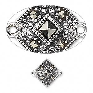 link, sterling silver with marcasite, 14x11mm diamond. sold individually.