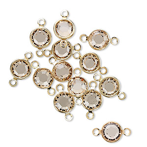 link, swarovski crystals and gold-plated brass, light colorado topaz, 6.14-6.32mm round (57700), ss29. sold per pkg of 12.