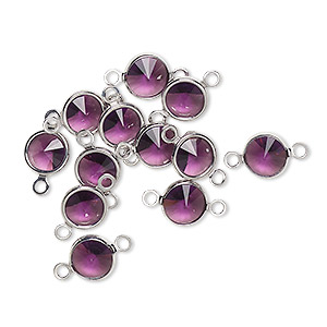 link, swarovski crystals and rhodium-plated brass, amethyst, 6.14-6.32mm round (57700), ss29. sold per pkg of 48.