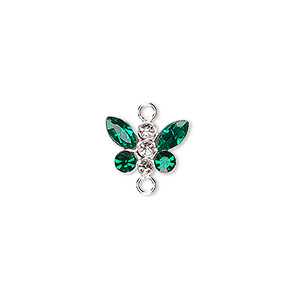 link, swarovski crystals and sterling silver, crystal clear/emerald, 12x8mm butterfly. sold individually.