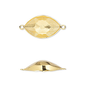 link, swarovski crystals, crystal passions, gold-plated brass, 18x10.5mm eye setting (4775/c). sold individually.