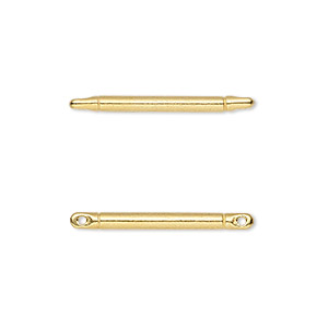 link, tierracast, gold-plated pewter (tin-based alloy), 25x2mm bar. sold per pkg of 2.