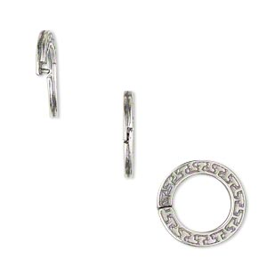 loop lock™, jbb findings, antique silver-plated pewter (tin-based alloy), 15mm double-sided flat round with geometric design and ridged edge. sold per pkg of 4.