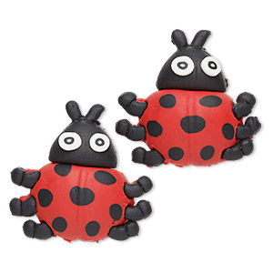 magnet, polymer clay and plastic, red / black / white, 35x34mm ladybug. sold per pkg of 2.