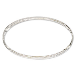 memory wire, beadalon, silver-plated carbon steel, 3-5/8 inch flat necklace, 1x0.5mm-1.2x0.6mm flat. sold per 0.35-ounce pkg, approximately 7 loops.