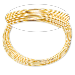 memory wire, gold-finished stainless steel, 1-3/4 inch bracelet, 0.6-0.75mm thick. sold per 1-ounce pkg, approximately 60 loops.