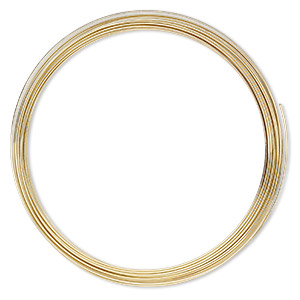 memory wire, gold-plated high carbon steel, 3-5/8 inch necklace, 0.7mm thick. sold per pkg of 12 loops.