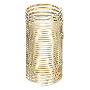 memory wire, gold-plated high carbon steel, 3/4 inch ring, 1.2x0.5mm flat. sold per 0.35-ounce pkg, approximately 27 loops.