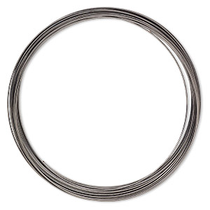 memory wire, gunmetal-plated high carbon steel, 3-5/8 inch necklace, 0.7mm thick. sold per pkg of 12 loops.