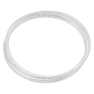 memory wire, silver-plated carbon steel, 1-3/4 inch bracelet, 0.65-0.75mm thick. sold per 1-ounce pkg, approximately 60 loops.